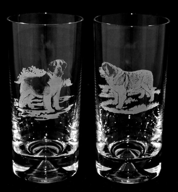 *DOG GIFT* PAIR Glass Highball Tumbler SAINT BERNARD