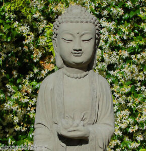 24034 Stone GAUTAMA BUDDHA Solid Concrete Stone Outdoor Asian