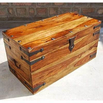 Rustic Wood U0026 Wrought Iron Bedroom Storage Trunk Coffee Table