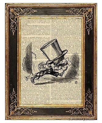Alice in Wonderland Art Print on Antique Book Page Vintage Illust Mad Hatter 2