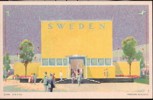 CHICAGO-IL-Worlds-Fair-Swedish-Building-Sweden-Vtg-Postcard-Century-of-Progress