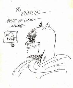 1990-BOB-KANE-original-art-BATMAN-sketch-signed-dated-amp-inscribed