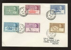 BRITISH-ANTARCTIC-1964-PICTORIALS-6v-COVER-ARGENTINE-Is