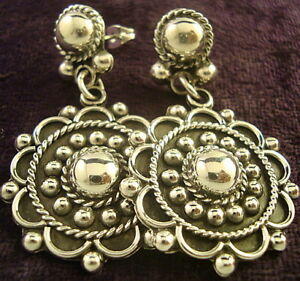 VINTAGE-DESIGN-TAXCO-MEXICAN-STERLING-SILVER-BEADED-BEAD-SCROLL-EARRINGS-MEXICO