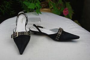 Offene Schuhe Absatz 2 cm VALROY Wildleder Schwarz T 37 SEHT GUTER ZUSTAND