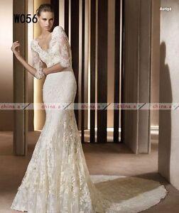 Long-Sleeve-Lace-Mermaid-Wedding-Dress-size-6-8-10-12-14-custom-Or-Matching-Veil
