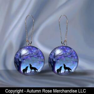 Howling-Wolf-Wolves-Wolfs-Moon-Button-Earrings-Pierced-Ears-Picture-Jewelry