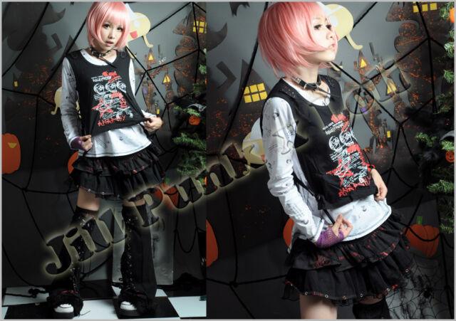 Punk rock heavy metal Human centipede Black magic layered-look tshirt GA156 W