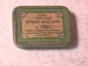 """Antique """"Royal"""" Stamp Mounts Tin London"""