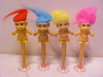 (4) VINTAGE 1980'S TROLLS W/SUCTION CUP BASE (MUST SEE)