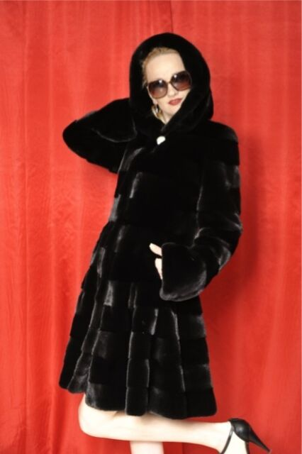 Brand New Horizontal Black Mink Fur jacket with Hood