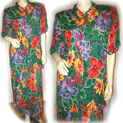 Womens 2pc GREEN Colored Hawaiian Floral Flowers Print DRESS Top Skirt SET M Med