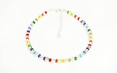 Rocaille Rainbow Anklet made with SWAROVSKI ELEMENTS small sparkly crystals