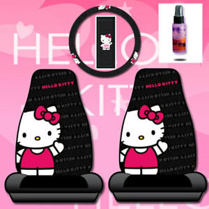Details about NEW HELLO KITTY CAR SEAT COVERS ACCESSORIES SET CORE