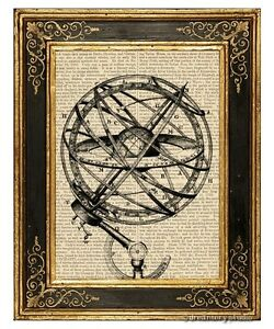 Armillary-Sphere-2-Art-Print-on-Antique-Book-Page-Vintage-Illustration-Globe