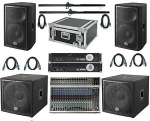 peavey wharfedale dlx 2800w complete band pa system with peavey 20ch mixer ebay. Black Bedroom Furniture Sets. Home Design Ideas