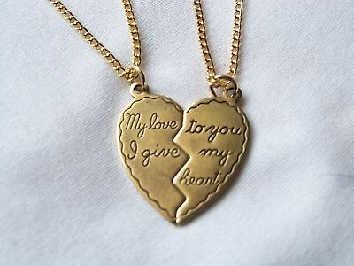 Silver or Antique Gold Split Heart Necklace of Love 2pc