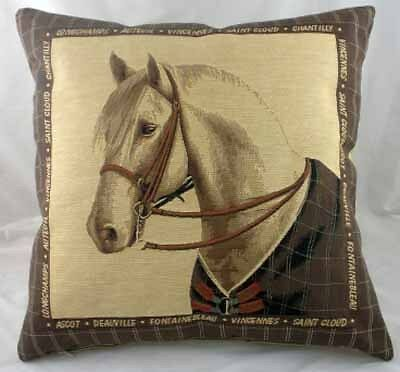 "18"" Equestrian White Horse Tapestry Cushion Dressage"
