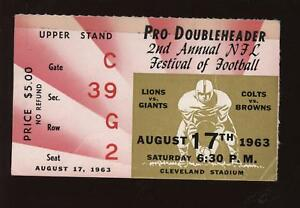 1963 Pro Football Doubleheader Ticket Stub