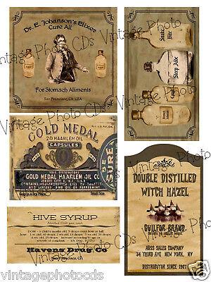 Primitive Medicine Box or Jar Labels Set    Sheet #13