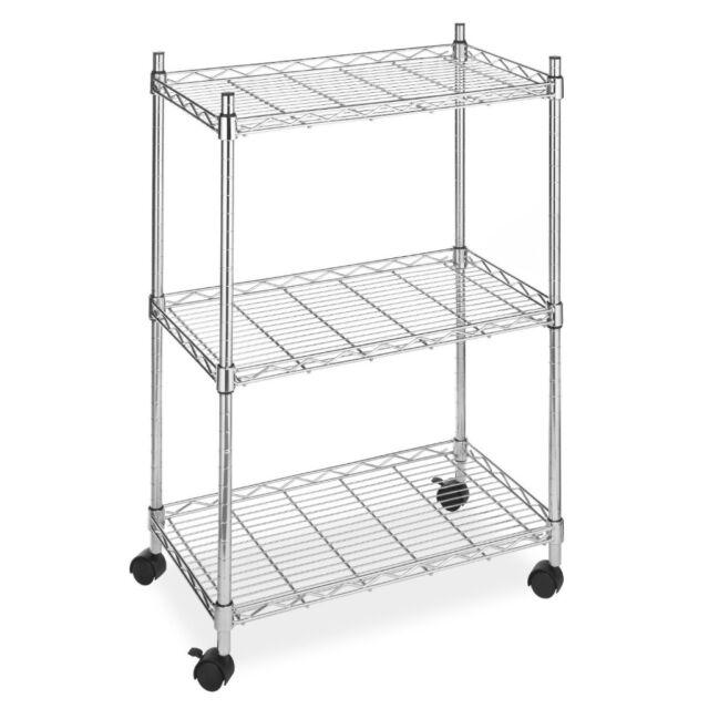 Brand New Chrome Wire Shelving Cart 250 Lb Shelf load 3 Shelves w/Casters Wheels