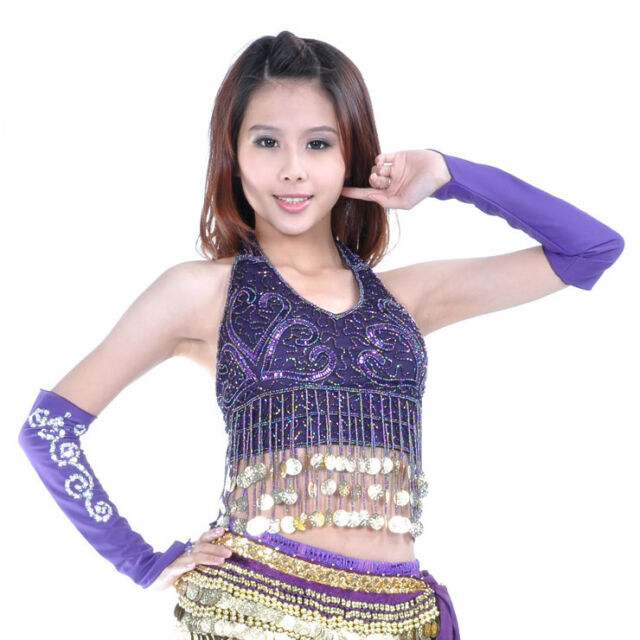 New Belly Dance Costume Sequins with Golden Coins Top Bra Blouse 10 color Purple