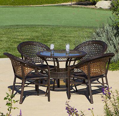 Outdoor Patio Furniture Luxury 5pc PE Wicker Bistro / Dining Set