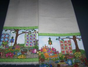Garden-Quilts-Linen-Kitchen-Tea-Towels-Set-of-2-NEW