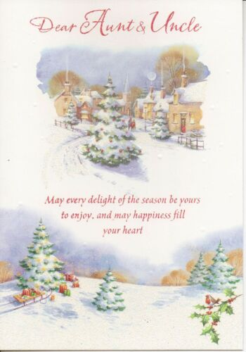 traditional AUNT AND UNCLE Christmas glitter card 3 x cards to choose from!