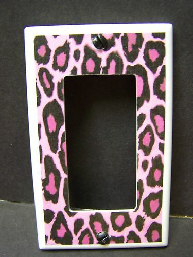LEOPARD PRINT PINK BLACK   LIGHT SWITCH COVER PLATE OR OUTLET COVER