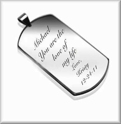 PERSONALIZED STAINLESS STEEL DOG TAG NECKLACE PENDANT CUSTOM ENGRAVED FREE