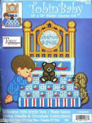 SALE! Tobin Baby PRAYING BOY DOG BEAR BIRTH RECORD Plastic Canvas Kit