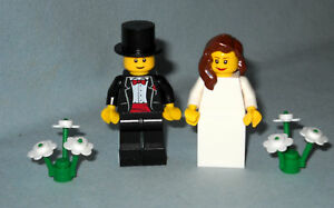 NEW LEGO WEDDING BRUNETTE BRIDE AND GROOM W TOP HAT MINIFIGURES FOR CAKE TOPPER