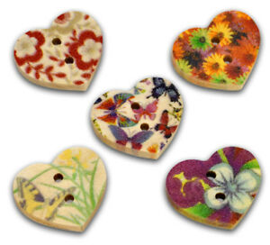 50-Mixed-Multicolour-HEART-2-Holes-Wood-buttons-17mm