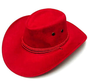 DELUXE-RED-ROPER-COWBOY-HAT-western-hats-rancher-caps-rodeo-fashion-wear-NEW