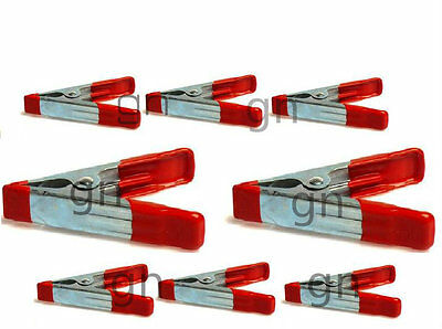 """8PC Joblot Metal Spring Clamps PVC Coated Handle and Tips Includes 2"""" & 4"""" Craft"""