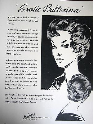 1959 Vint Salon Ladies Haircut Sketch Sign Ad BALLERINA
