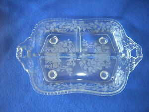 Fostoria-3-section-divided-plate-etched-with-handles