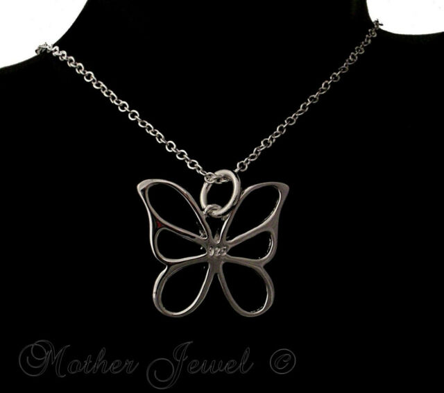 TRULY LOVELY GIFT BUTTERFLY PENDANT STERLING SILVER SP CHAIN NECKLACE