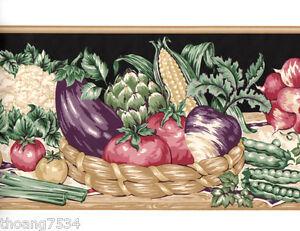 Garden-Vegetables-Basket-Tomatoes-Corn-Onion-Kitchen-Black-Tan-Wall-paper-Border