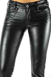Faux Novit donna Leather Bootcut Jeans Black Pantaloni da Optics nURx8H84w