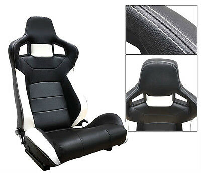 NEW 1 PAIR BLACK & WHITE PVC LEATHER RECLINABLE RACING SEATS FOR ALL FORD *
