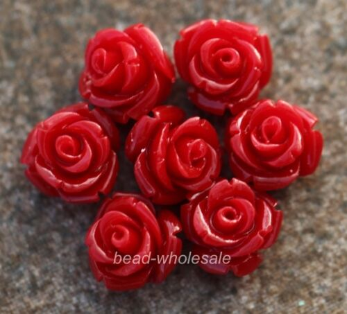 20pcs Gorgeous Rose Flower Coral Resin Spacer Beads Choose 10//12//15MM Color