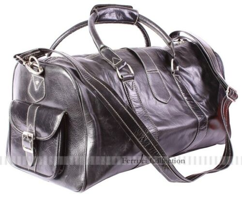 2820S Black Duffle Weekend Italian Leather Holdall Bag