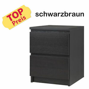ikea kommode schrank 2 schubladen malm schwarz neu ovp ebay. Black Bedroom Furniture Sets. Home Design Ideas