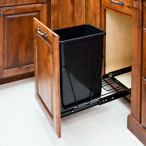 Black- Single Trash Can Pull-Out System/Can/Door Mounting Kit