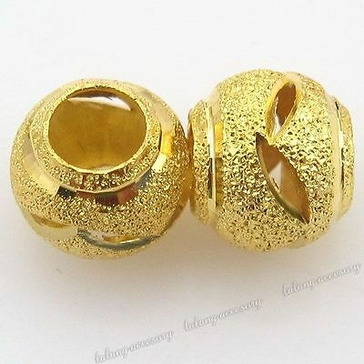 30x 110254 Gold Plated Carved Sparkle Spacer Beads Fit Jewelry Making 10mm