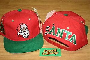 Vintage-SANTA-CLAUS-blockhead-snapback-hat-cap-NWT-Christmas-Tree-RARE
