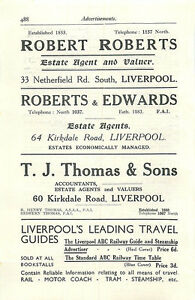 1934 Liverpool Robert Roberts Edwards Tj Thomas Estate Agents Ad - Jarrow, United Kingdom - If for any reason you are not satisfied with your item, do let us know. If you wish to return it, you may, within 7 days, and we will issue you with a full refund. Most purchases from business sellers are protected by the Consumer - Jarrow, United Kingdom