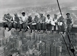 Lunch-On-A-Skyscraper-Poster-Men-On-Girder-New-York-Gloss-Laminated-New-Sealed